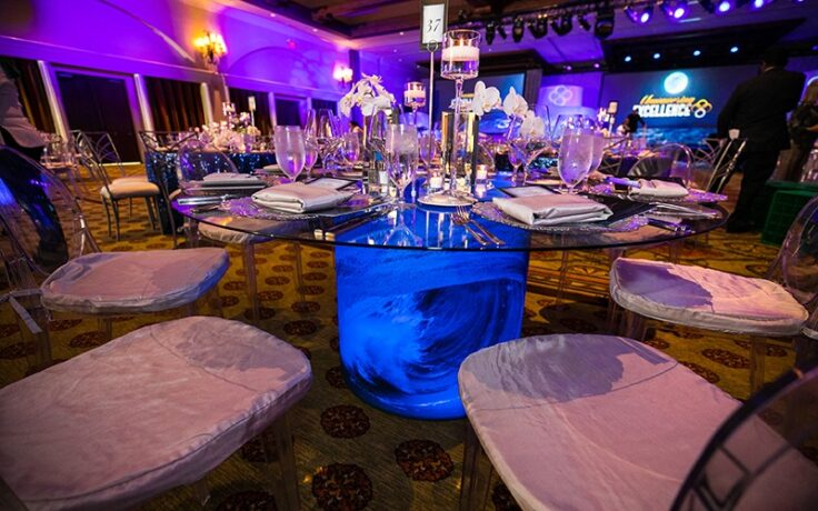 how to elevate a beach theme so it s worthy of a black tie awards